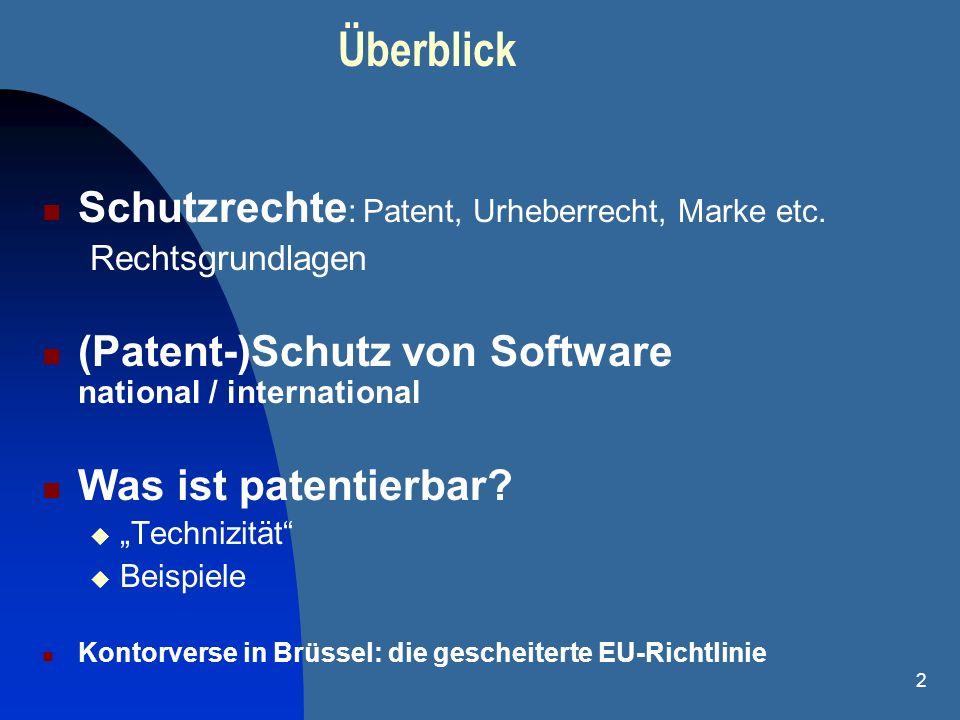 2 Schutzrechte : Patent, Urheberrecht, Marke etc. Rechtsgrundlagen (Patent-)Schutz von Software national / international Was ist patentierbar? Techniz