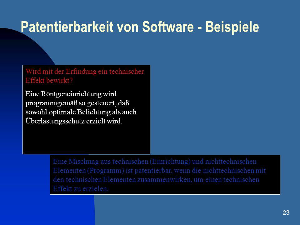 23 Patentierbarkeit von Software - Beispiele Wird mit der Erfindung ein technischer Effekt bewirkt? Eine Röntgeneinrichtung wird programmgemäß so gest