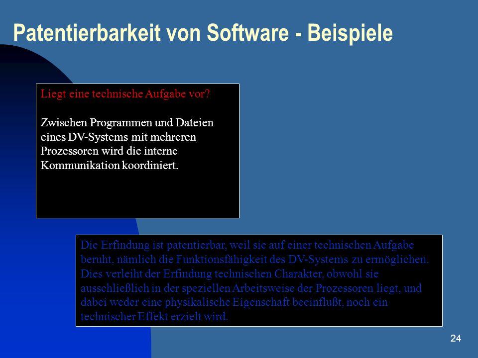24 Patentierbarkeit von Software - Beispiele Liegt eine technische Aufgabe vor? Zwischen Programmen und Dateien eines DV-Systems mit mehreren Prozesso
