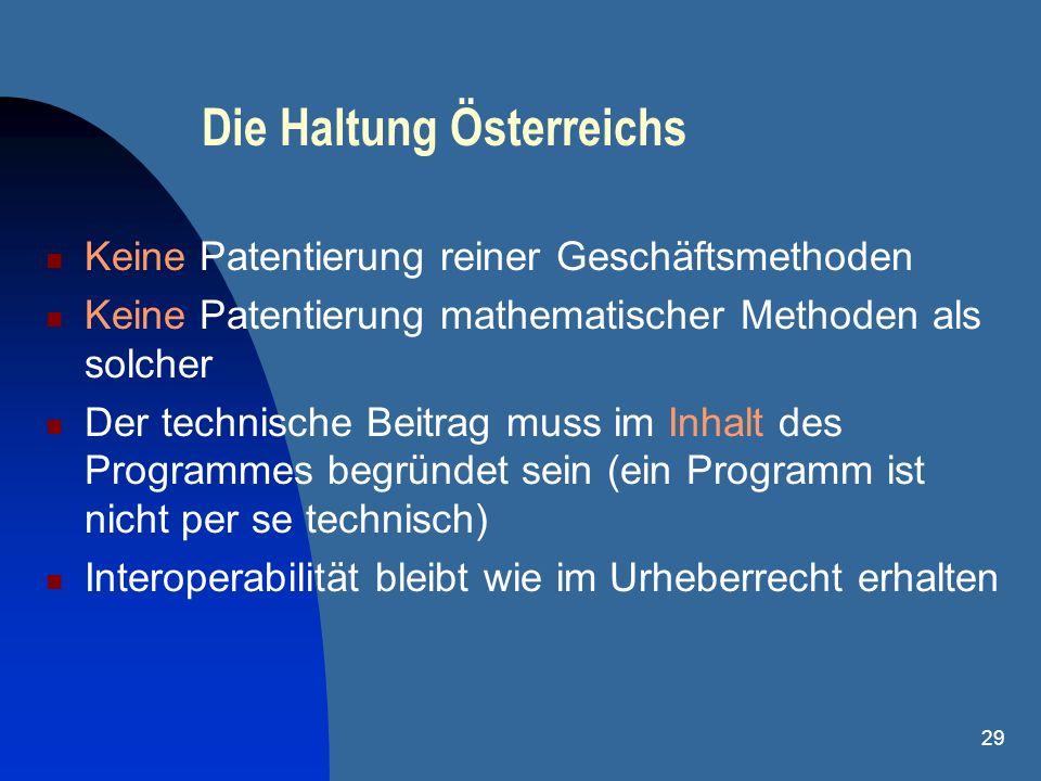29 Die Haltung Österreichs Keine Patentierung reiner Geschäftsmethoden Keine Patentierung mathematischer Methoden als solcher Der technische Beitrag m