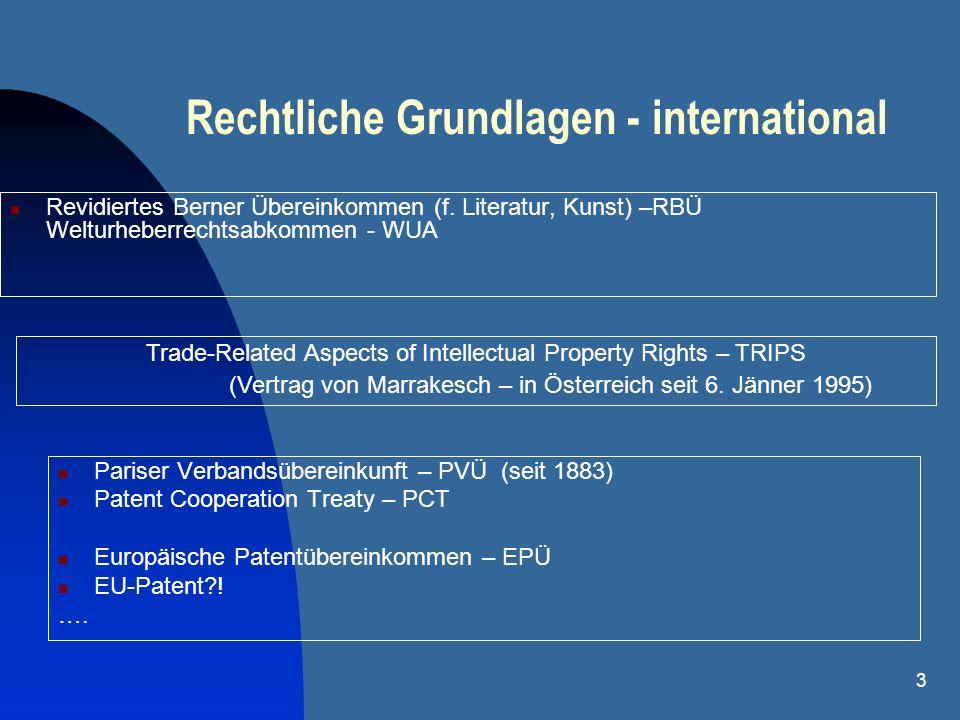 3 Rechtliche Grundlagen - international Revidiertes Berner Übereinkommen (f. Literatur, Kunst) –RBÜ Welturheberrechtsabkommen - WUA Pariser Verbandsüb