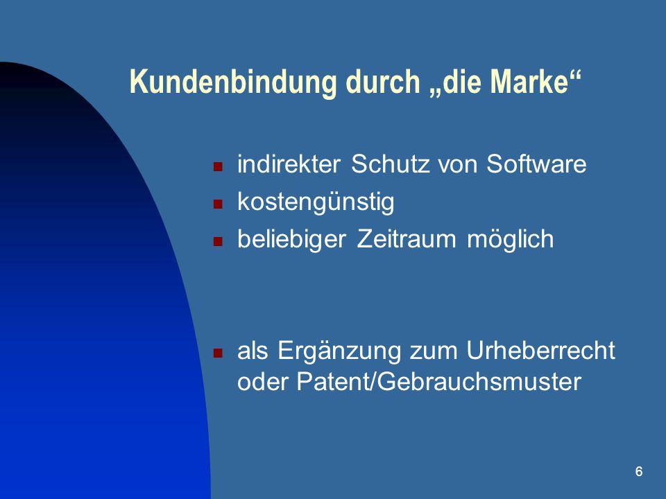 6 Kundenbindung durch die Marke indirekter Schutz von Software kostengünstig beliebiger Zeitraum möglich als Ergänzung zum Urheberrecht oder Patent/Ge