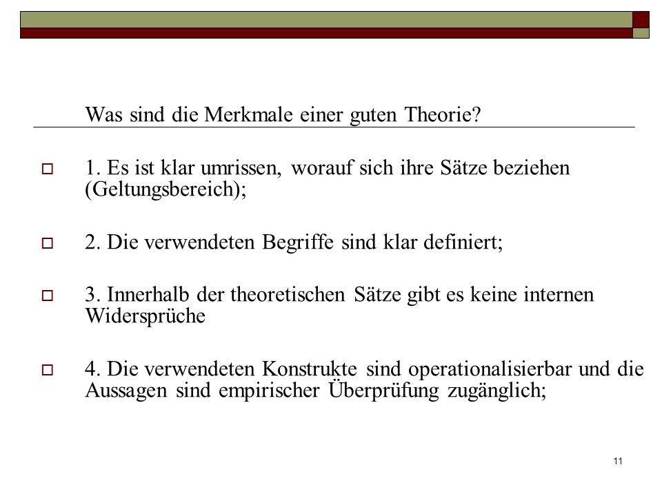 11 Was sind die Merkmale einer guten Theorie? 1. Es ist klar umrissen, worauf sich ihre Sätze beziehen (Geltungsbereich); 2. Die verwendeten Begriffe