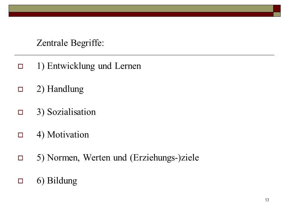 13 Zentrale Begriffe: 1) Entwicklung und Lernen 2) Handlung 3) Sozialisation 4) Motivation 5) Normen, Werten und (Erziehungs-)ziele 6) Bildung