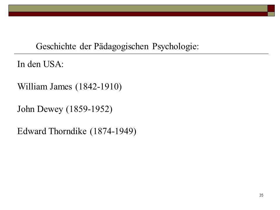 35 Geschichte der Pädagogischen Psychologie: In den USA: William James (1842-1910) John Dewey (1859-1952) Edward Thorndike (1874-1949)