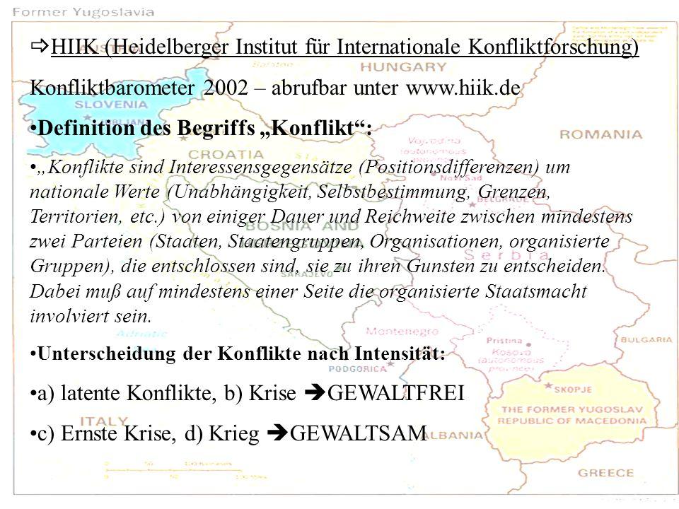 HIIK (Heidelberger Institut für Internationale Konfliktforschung) Konfliktbarometer 2002 – abrufbar unter www.hiik.de Definition des Begriffs Konflikt