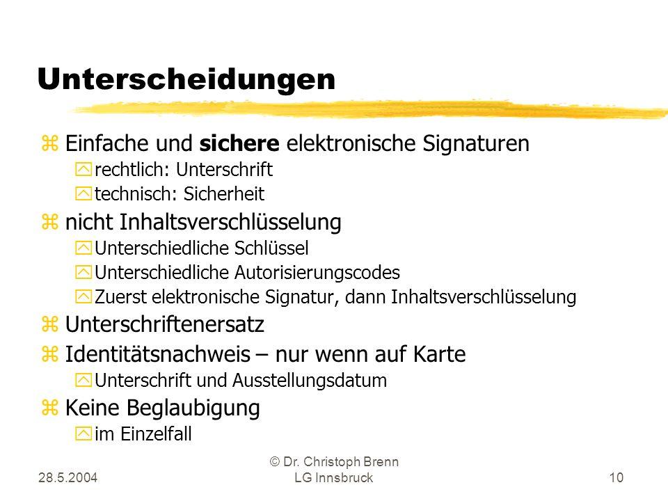 28.5.2004 © Dr. Christoph Brenn LG Innsbruck10 Unterscheidungen zEinfache und sichere elektronische Signaturen yrechtlich: Unterschrift ytechnisch: Si