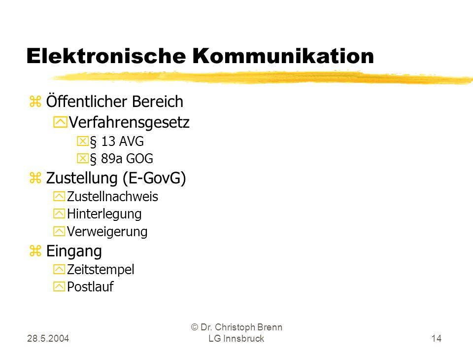 28.5.2004 © Dr. Christoph Brenn LG Innsbruck14 Elektronische Kommunikation zÖffentlicher Bereich yVerfahrensgesetz x§ 13 AVG x§ 89a GOG zZustellung (E