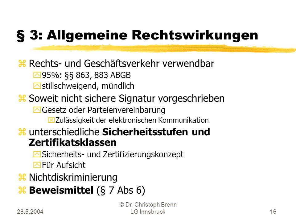 28.5.2004 © Dr. Christoph Brenn LG Innsbruck16 § 3: Allgemeine Rechtswirkungen zRechts- und Geschäftsverkehr verwendbar y95%: §§ 863, 883 ABGB ystills