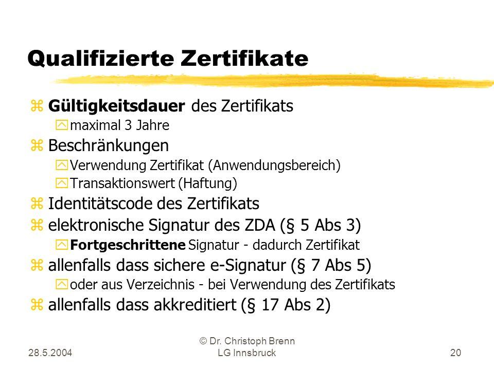 28.5.2004 © Dr. Christoph Brenn LG Innsbruck20 Qualifizierte Zertifikate zGültigkeitsdauer des Zertifikats ymaximal 3 Jahre zBeschränkungen yVerwendun