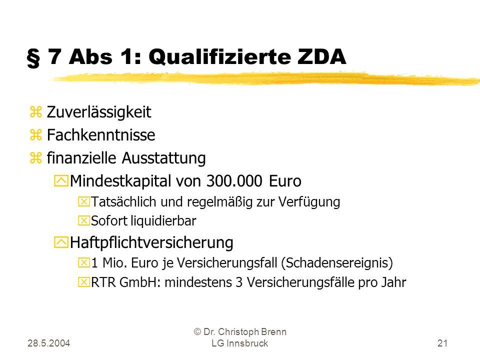 28.5.2004 © Dr. Christoph Brenn LG Innsbruck21 § 7 Abs 1: Qualifizierte ZDA zZuverlässigkeit zFachkenntnisse zfinanzielle Ausstattung yMindestkapital
