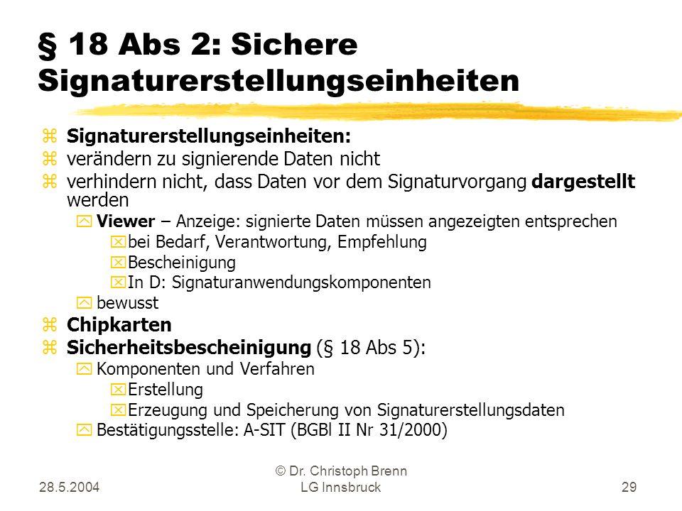 28.5.2004 © Dr. Christoph Brenn LG Innsbruck29 § 18 Abs 2: Sichere Signaturerstellungseinheiten zSignaturerstellungseinheiten: zverändern zu signieren