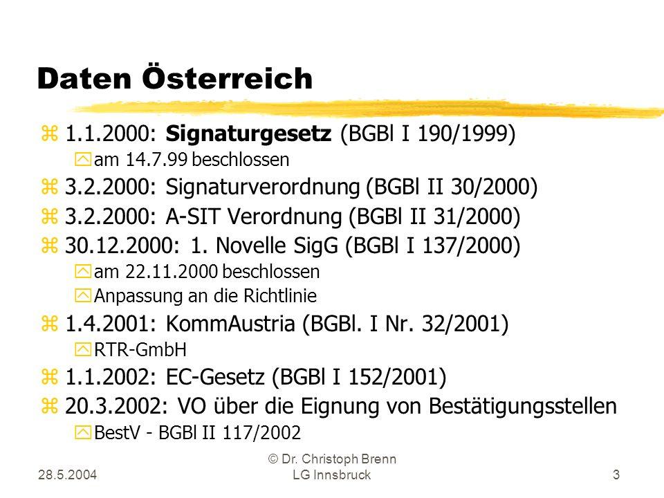 28.5.2004 © Dr. Christoph Brenn LG Innsbruck3 Daten Österreich z1.1.2000: Signaturgesetz (BGBl I 190/1999) yam 14.7.99 beschlossen z3.2.2000: Signatur