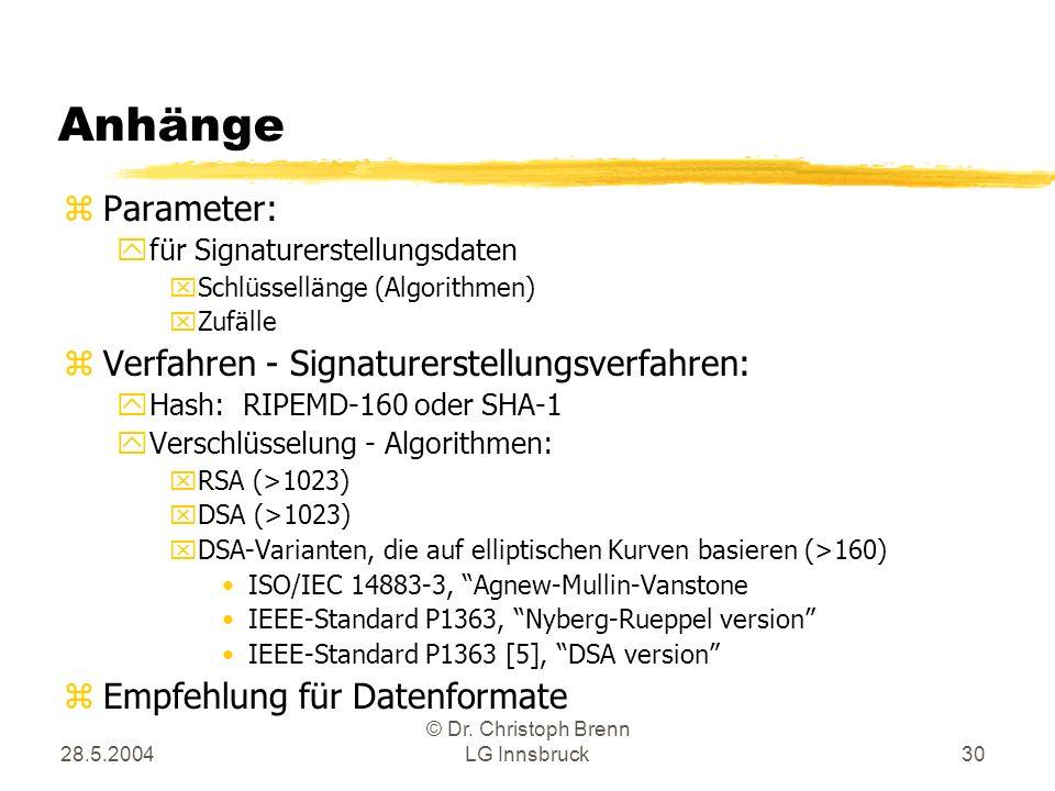 28.5.2004 © Dr. Christoph Brenn LG Innsbruck30 Anhänge zParameter: yfür Signaturerstellungsdaten xSchlüssellänge (Algorithmen) xZufälle zVerfahren - S