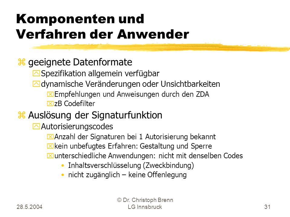 28.5.2004 © Dr. Christoph Brenn LG Innsbruck31 Komponenten und Verfahren der Anwender zgeeignete Datenformate ySpezifikation allgemein verfügbar ydyna