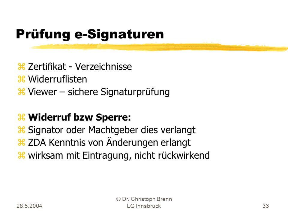 28.5.2004 © Dr. Christoph Brenn LG Innsbruck33 Prüfung e-Signaturen zZertifikat - Verzeichnisse zWiderruflisten zViewer – sichere Signaturprüfung zWid