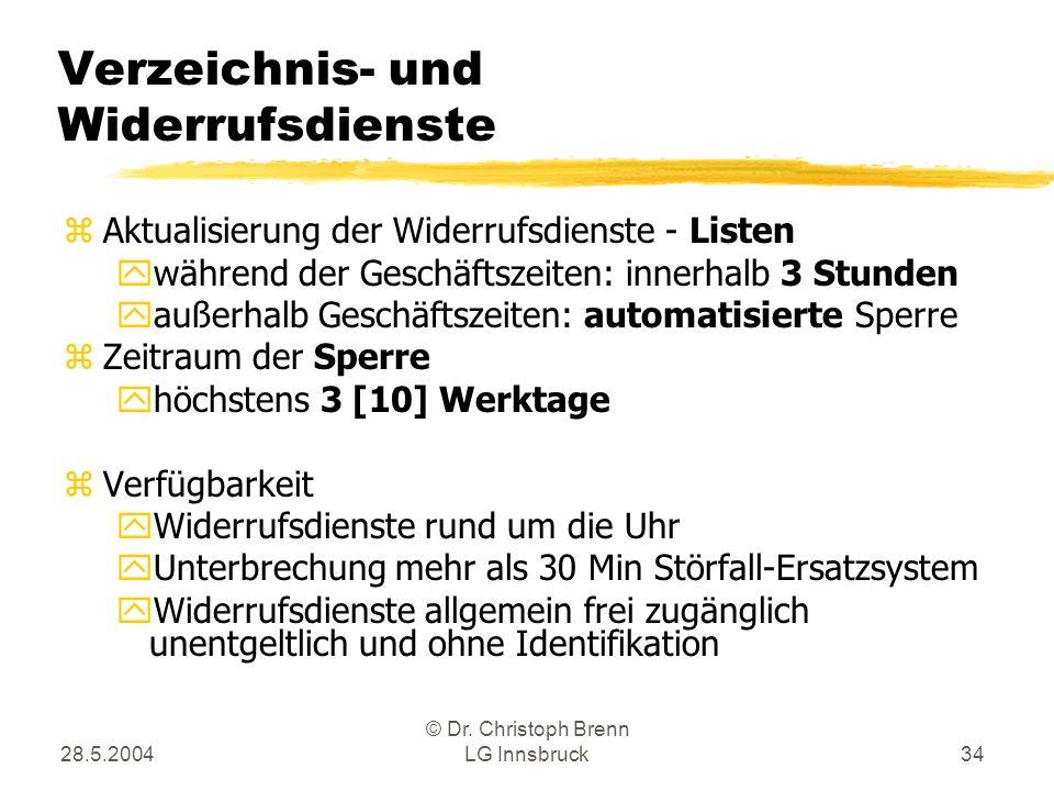 28.5.2004 © Dr. Christoph Brenn LG Innsbruck34 Verzeichnis- und Widerrufsdienste zAktualisierung der Widerrufsdienste - Listen ywährend der Geschäftsz