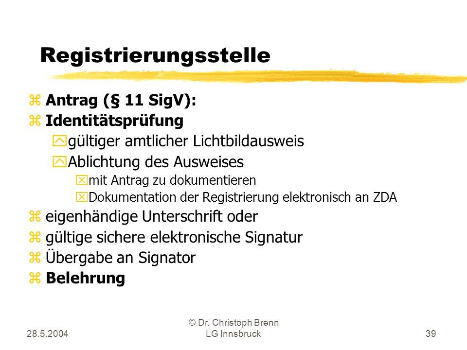 28.5.2004 © Dr. Christoph Brenn LG Innsbruck39 Registrierungsstelle zAntrag (§ 11 SigV): zIdentitätsprüfung ygültiger amtlicher Lichtbildausweis yAbli