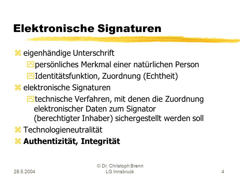 28.5.2004 © Dr. Christoph Brenn LG Innsbruck4 Elektronische Signaturen zeigenhändige Unterschrift ypersönliches Merkmal einer natürlichen Person yIden