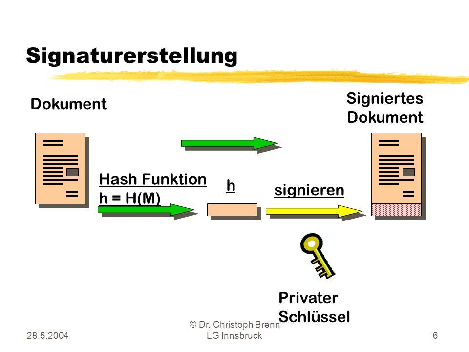28.5.2004 © Dr. Christoph Brenn LG Innsbruck6 Signaturerstellung Hash Funktion h = H(M) h Dokument signieren Signiertes Dokument Privater Schlüssel