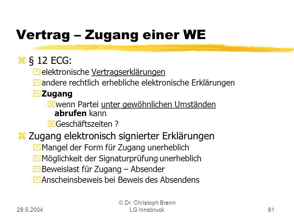 28.5.2004 © Dr. Christoph Brenn LG Innsbruck61 Vertrag – Zugang einer WE z§ 12 ECG: yelektronische Vertragserklärungen yandere rechtlich erhebliche el