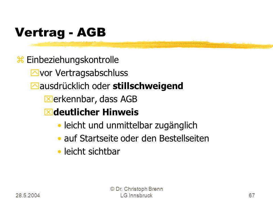 28.5.2004 © Dr. Christoph Brenn LG Innsbruck67 Vertrag - AGB zEinbeziehungskontrolle yvor Vertragsabschluss yausdrücklich oder stillschweigend xerkenn