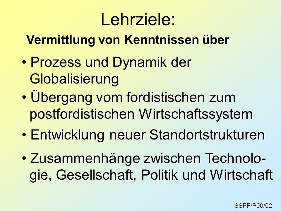 SSPF/P00/03 Globalziel: Am Ende des Semesters sollten Sie verstehen, wie es zum Prozess der Globalisierung gekommen ist, und welche Konsequenzen sich daraus für die Standortstrukturen und die gesellschaftliche Ent- wicklung der Gegenwart ergeben.