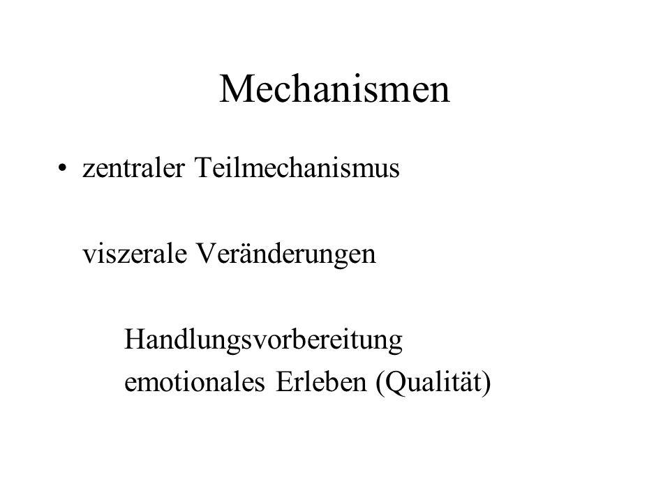 Mechanismen zentraler Teilmechanismus viszerale Veränderungen Handlungsvorbereitung emotionales Erleben (Qualität)