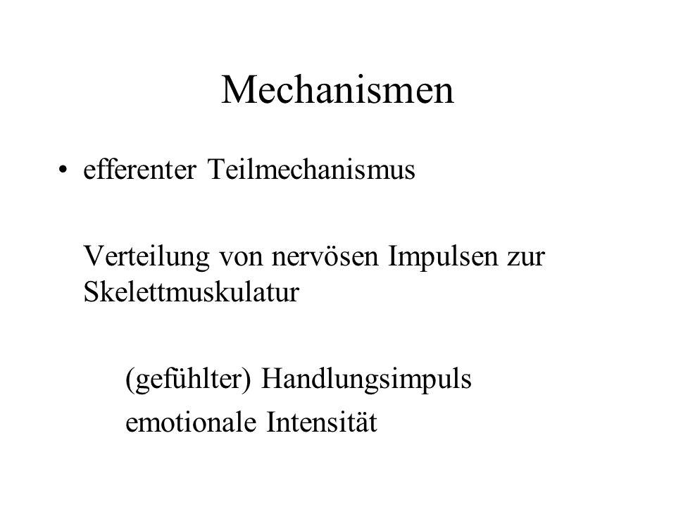 Mechanismen efferenter Teilmechanismus Verteilung von nervösen Impulsen zur Skelettmuskulatur (gefühlter) Handlungsimpuls emotionale Intensität