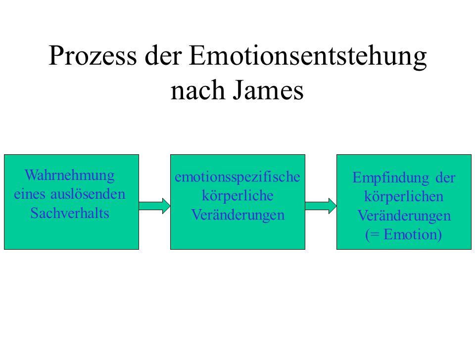 Prozess der Emotionsentstehung nach James Wahrnehmung eines auslösenden Sachverhalts emotionsspezifische körperliche Veränderungen Empfindung der körperlichen Veränderungen (= Emotion)