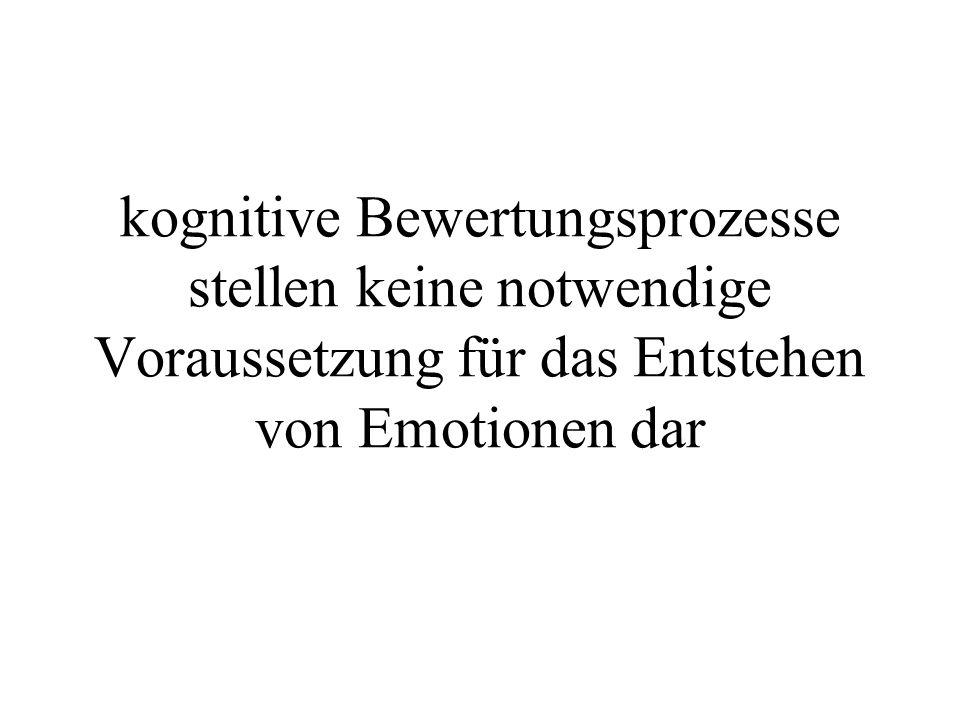 kognitive Bewertungsprozesse stellen keine notwendige Voraussetzung für das Entstehen von Emotionen dar