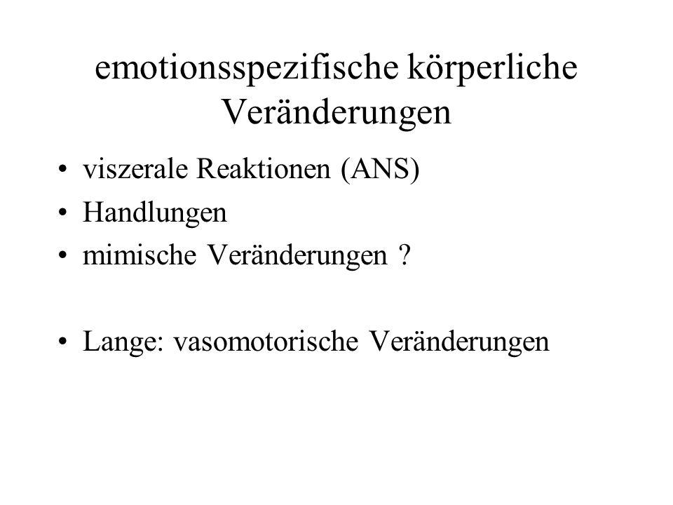 emotionsspezifische körperliche Veränderungen viszerale Reaktionen (ANS) Handlungen mimische Veränderungen .