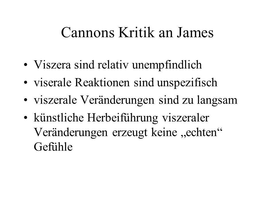 Cannons Kritik an James Viszera sind relativ unempfindlich viserale Reaktionen sind unspezifisch viszerale Veränderungen sind zu langsam künstliche Herbeiführung viszeraler Veränderungen erzeugt keine echten Gefühle