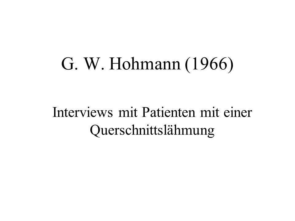 G. W. Hohmann (1966) Interviews mit Patienten mit einer Querschnittslähmung
