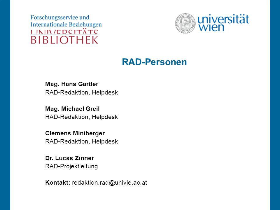RAD-Personen Mag. Hans Gartler RAD-Redaktion, Helpdesk Mag.