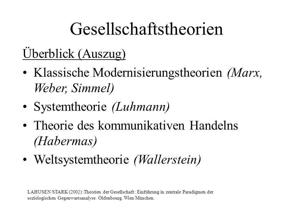 Gesellschaftstheorien Überblick (Auszug) Klassische Modernisierungstheorien (Marx, Weber, Simmel) Systemtheorie (Luhmann) Theorie des kommunikativen H