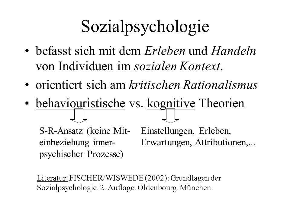 Sozialpsychologie befasst sich mit dem Erleben und Handeln von Individuen im sozialen Kontext. orientiert sich am kritischen Rationalismus behaviouris