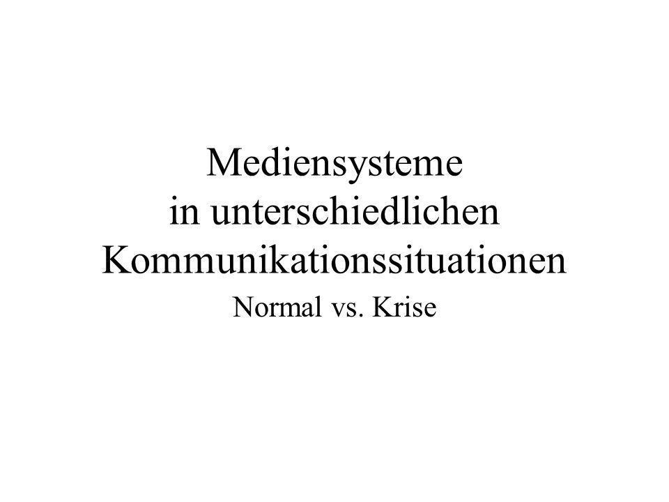 Mediensysteme in unterschiedlichen Kommunikationssituationen Normal vs. Krise