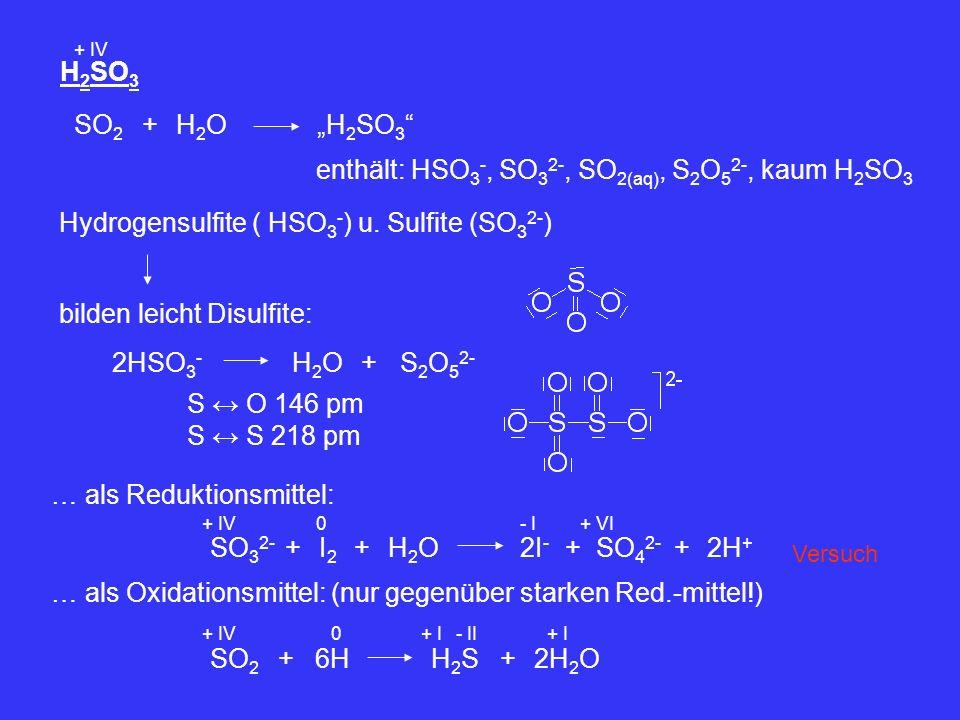 H 2 SO 3 + IV SO 2 +H2OH2OH 2 SO 3 enthält: HSO 3 -, SO 3 2-, SO 2(aq), S 2 O 5 2-, kaum H 2 SO 3 Hydrogensulfite ( HSO 3 - ) u. Sulfite (SO 3 2- ) bi