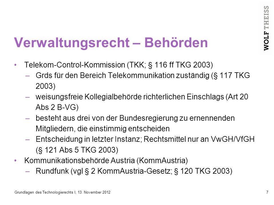 Grundlagen des Technologierechts I, 13.November 201238 KONTAKTADRESSE Dr.