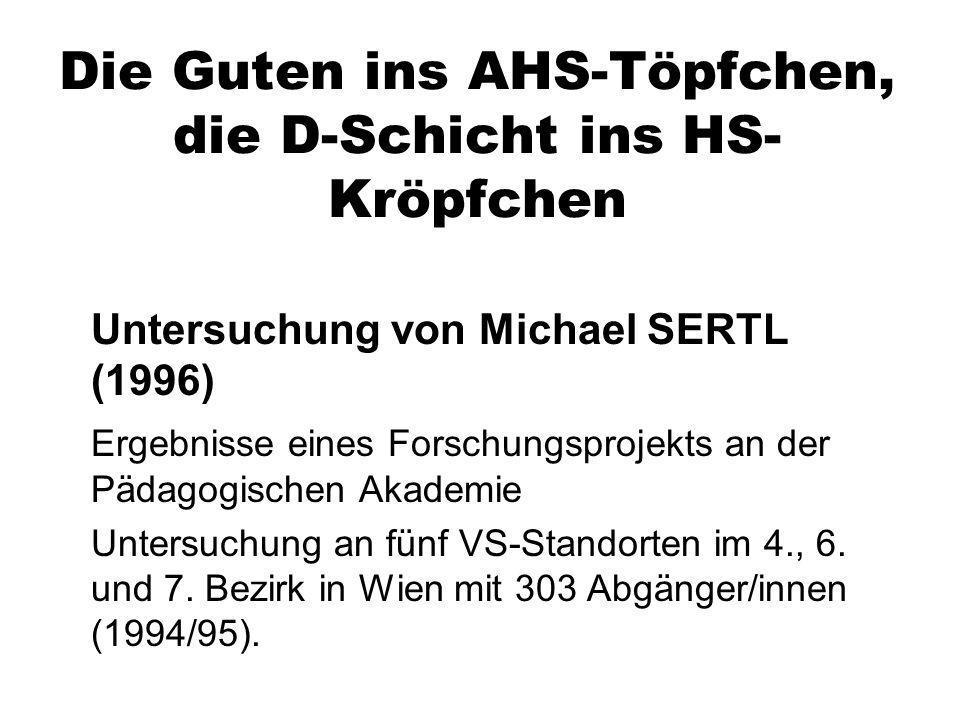 Die Guten ins AHS-Töpfchen, die D-Schicht ins HS- Kröpfchen Untersuchung von Michael SERTL (1996) Ergebnisse eines Forschungsprojekts an der Pädagogis