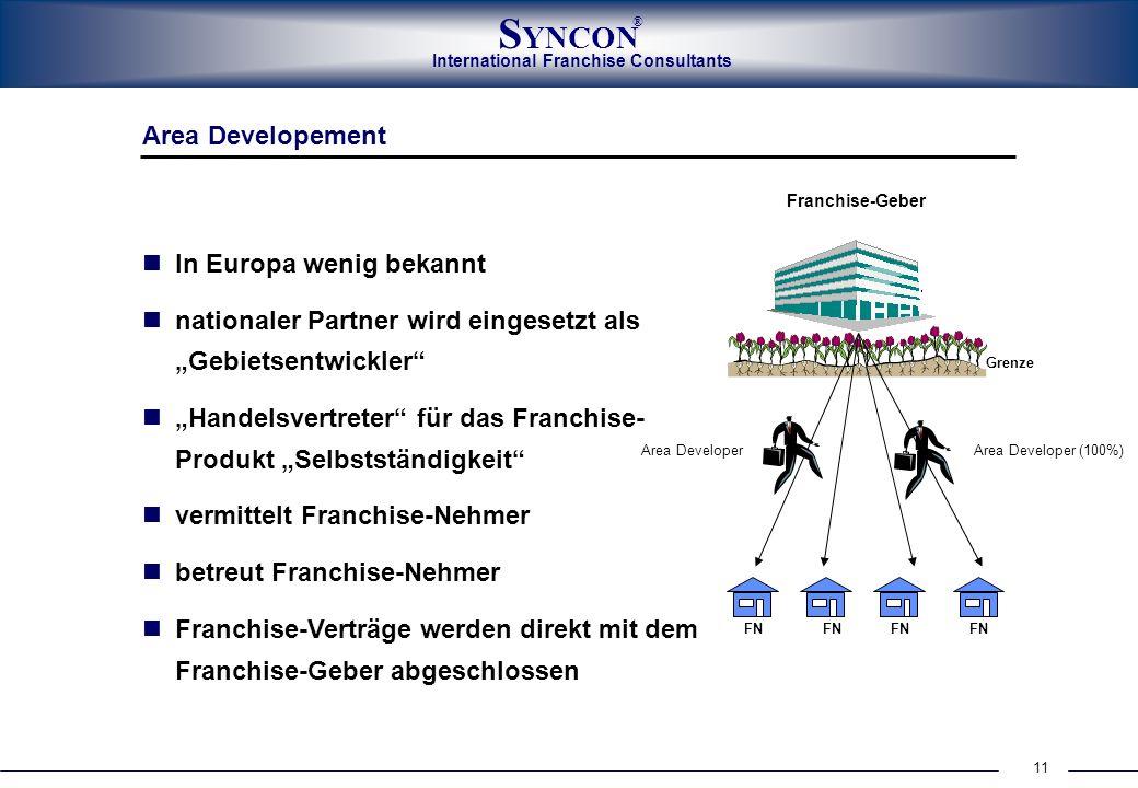 International Franchise Consultants S YNCON ® 11 Area Developement In Europa wenig bekannt nationaler Partner wird eingesetzt als Gebietsentwickler Ha