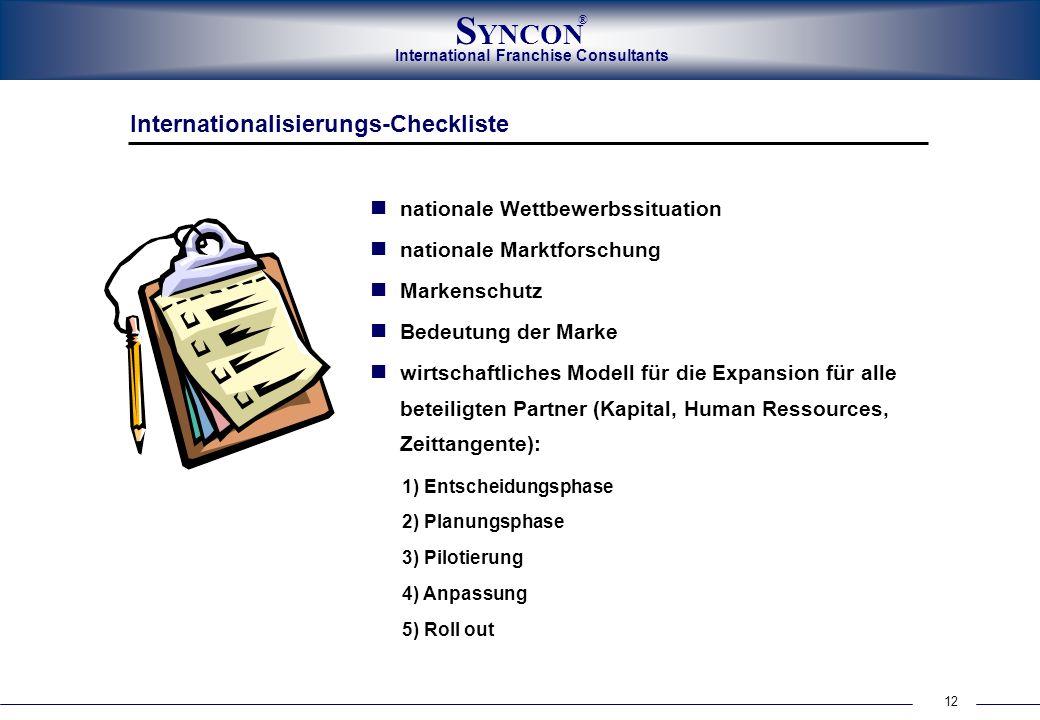 International Franchise Consultants S YNCON ® 12 Internationalisierungs-Checkliste nationale Wettbewerbssituation nationale Marktforschung Markenschut