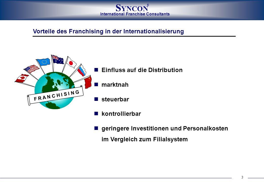 International Franchise Consultants S YNCON ® 3 Vorteile des Franchising in der Internationalisierung Einfluss auf die Distribution marktnah steuerbar