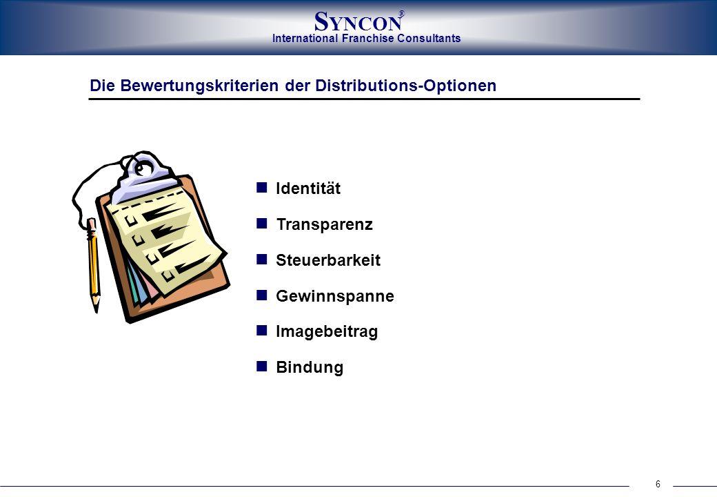 International Franchise Consultants S YNCON ® 6 Die Bewertungskriterien der Distributions-Optionen Identität Transparenz Steuerbarkeit Gewinnspanne Im