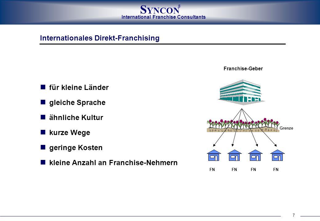 International Franchise Consultants S YNCON ® 7 Internationales Direkt-Franchising für kleine Länder gleiche Sprache ähnliche Kultur kurze Wege gering