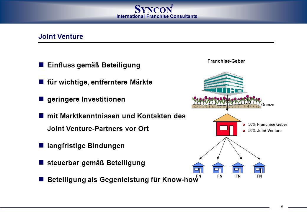 International Franchise Consultants S YNCON ® 9 Joint Venture Einfluss gemäß Beteiligung für wichtige, entferntere Märkte geringere Investitionen mit
