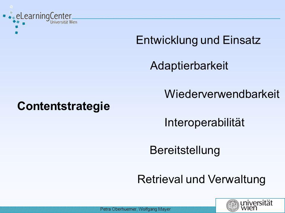 Contentstrategie Entwicklung und Einsatz Adaptierbarkeit Wiederverwendbarkeit Interoperabilität Bereitstellung Retrieval und Verwaltung Petra Oberhuemer, Wolfgang Mayer