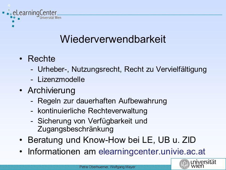 Wiederverwendbarkeit Rechte -Urheber-, Nutzungsrecht, Recht zu Vervielfältigung -Lizenzmodelle Archivierung -Regeln zur dauerhaften Aufbewahrung -kontinuierliche Rechteverwaltung -Sicherung von Verfügbarkeit und Zugangsbeschränkung Beratung und Know-How bei LE, UB u.