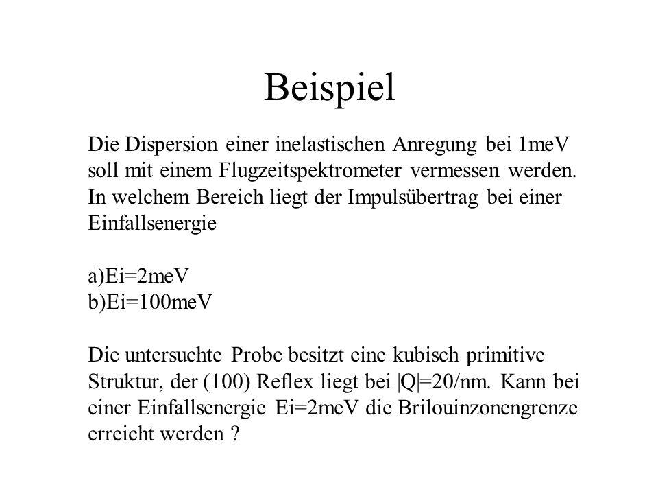 Beispiel Die Dispersion einer inelastischen Anregung bei 1meV soll mit einem Flugzeitspektrometer vermessen werden.